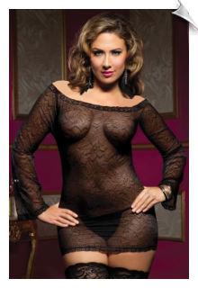 Stretchy Sheer Black Lace Chemise with Bell Sleeves