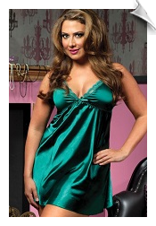 Solid green satin lingerie chemise nightgown for plus size 4-x through extra small ladies on any given holiday (also available in shiny black, red and white satin)