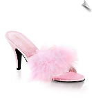 Three Inch Amour Satin & Marabou Slippers
