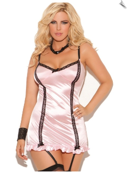 Baby Pink Satin & Black Lace Garter Chemise
