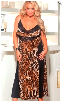Animal Printed & Black Lace Long Nightgown