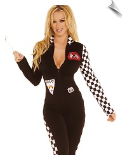 Saucy Auto Racer Jumpsuit with Speedway Flag