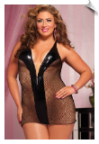 Black Fishnet & Shiny Lame Chemise with Zip-Up Front