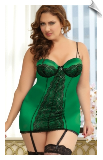 Green with Envy Satin & Lace Chemise