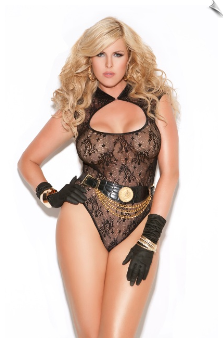 Black & Gold Sheer Lace Keyhole Teddy from Vivace