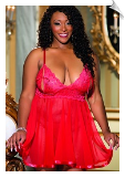 Sheer Red Mesh & Scallop Lace Peep-Cup Nightgown