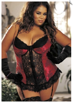 Long Line Flowered Contouring Bustier & G-String