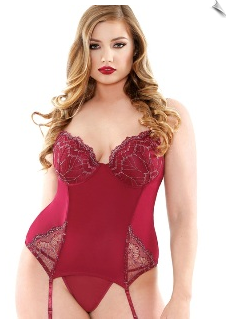 Burgundy Bustier with Silver Metallic Embroidery