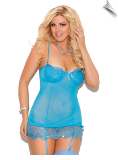 Crystal Blue Sequin Skirted Chemise