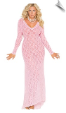 Baby Pink Lace Long Nightgown with Sleeves