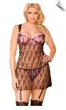 Baby Pink Satin & Black Lace Overlay Nightdress