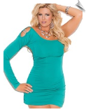 One Shoulder Jade Mini Dress with 8-Jewel