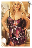 Burnout Butterfly Silk Negligee with Open Sides