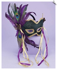 Masquerade face mask with feathers