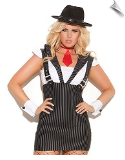Machine Gun Greta Pinstriped Suspender Dress