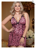 Pink & Black Leopard Stretch Mesh Chemise