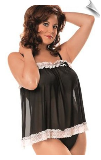 Throw-Back Lace Ruffle Baby Doll Negligee