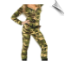 Long sleeve zipper front full body warrior suit, belt with bullets and camo head scarf