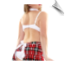 Sexy tie-back apron with full white panties fancied up on the back with plaid ruffles